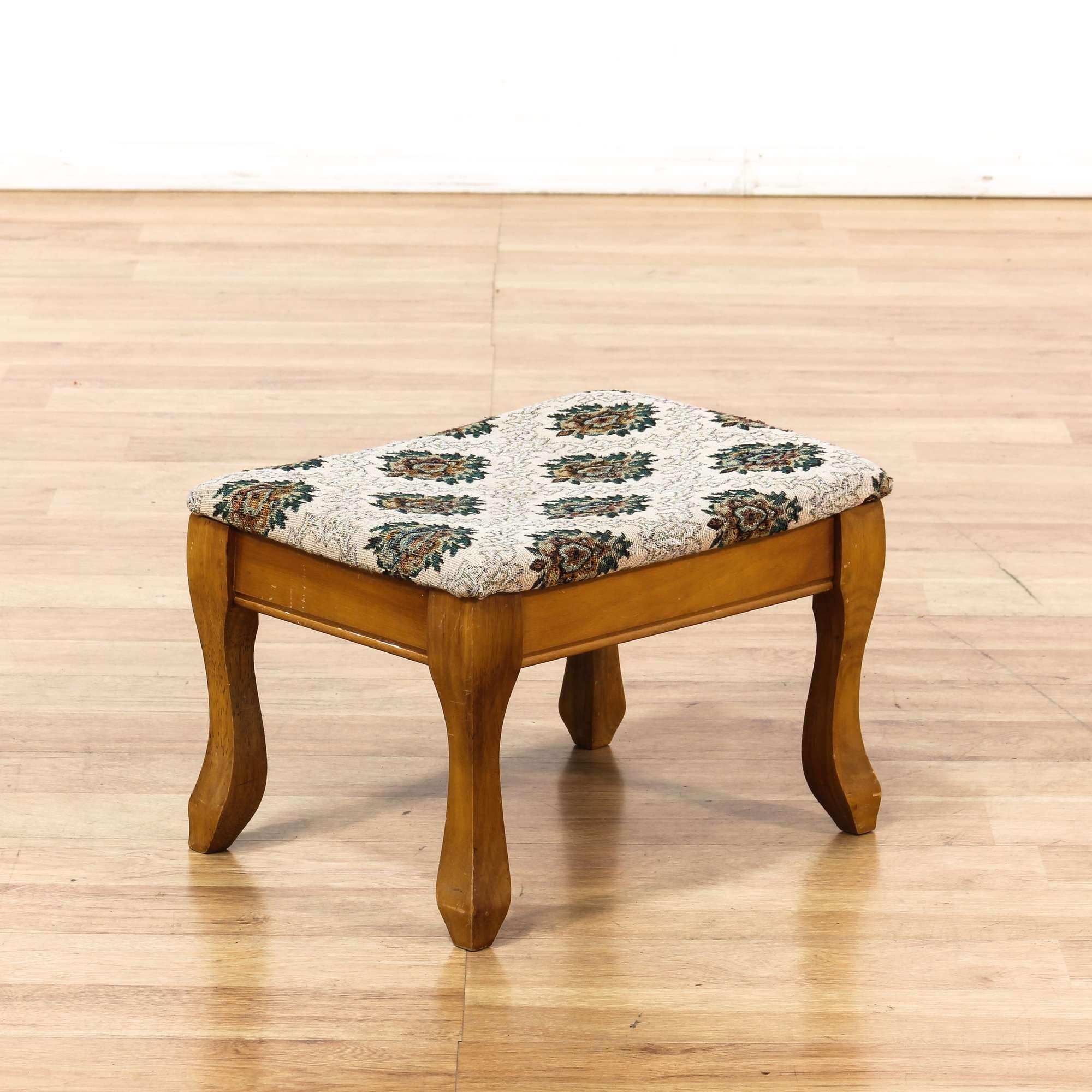 Foot Stool W Floral Upholstery Loveseat Vintage Furniture San Diego Los Angeles