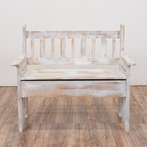 White Solid Wood Bench With Storage Interior Amp Exterior: White Shabby Chic Storage Bench