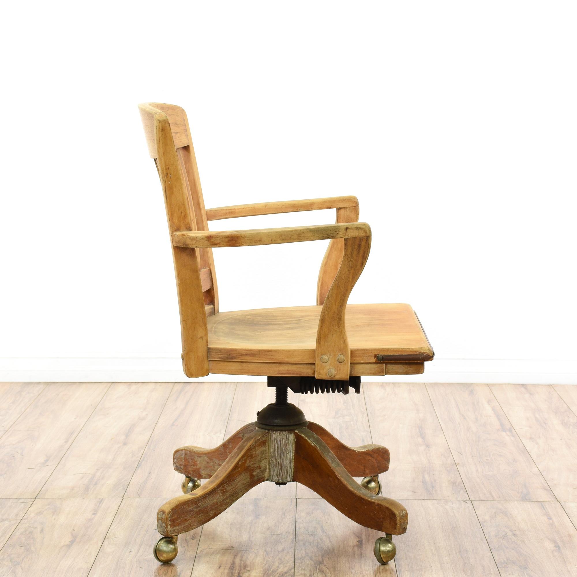 Blonde Wood Office Banker S Chair Loveseat Vintage