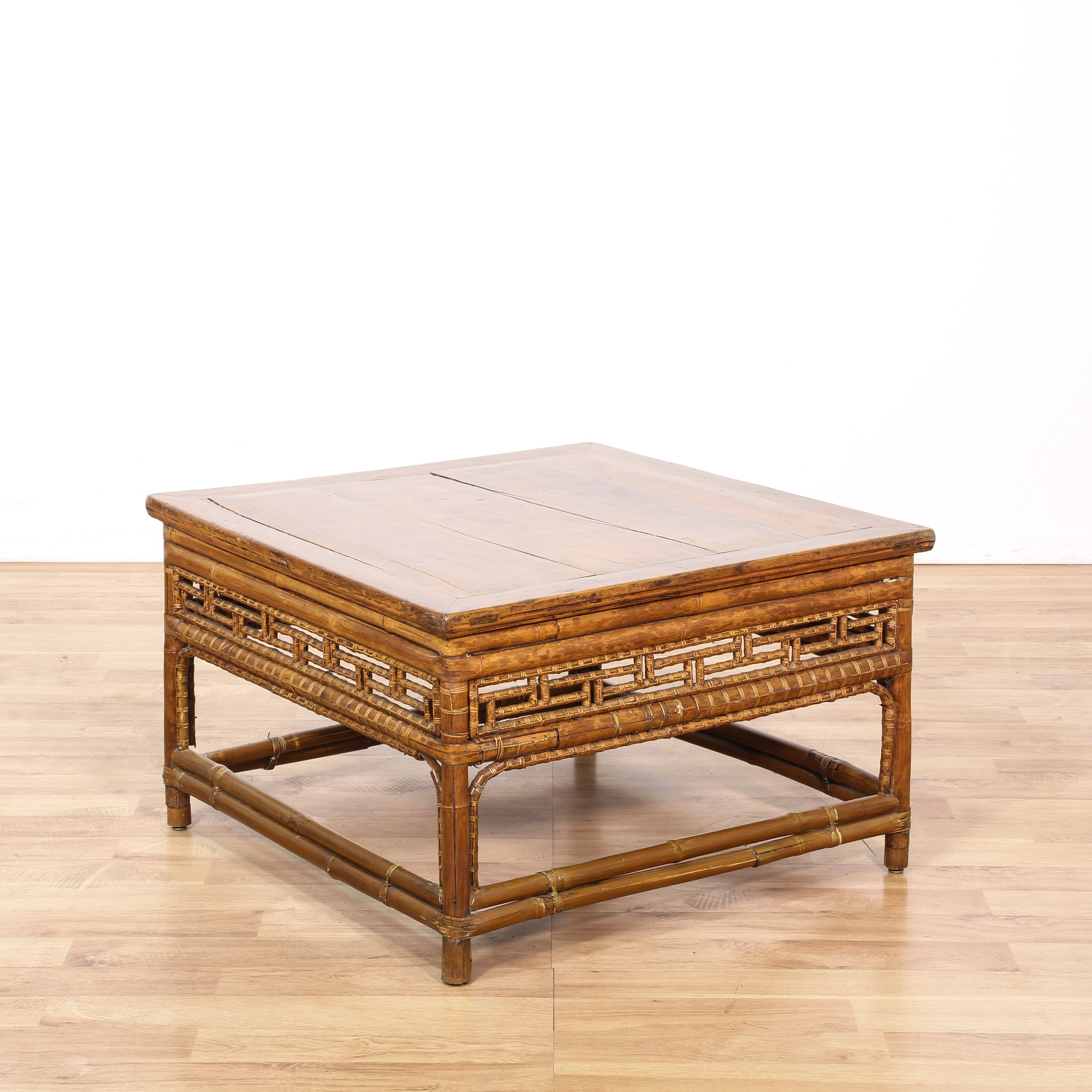 Square Bamboo Coffee Table Loveseat Vintage Furniture San Diego Los Angeles