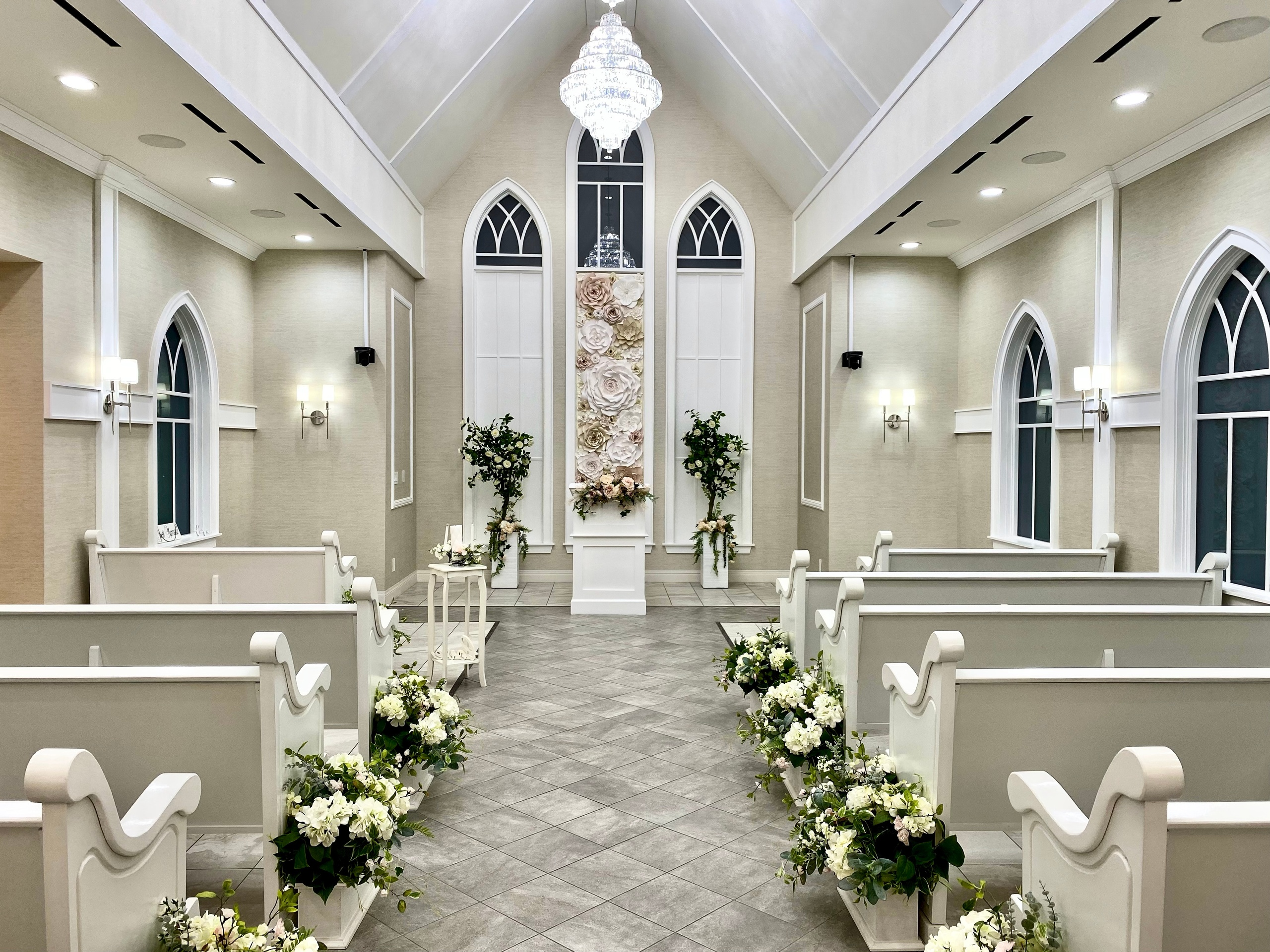 Gorgeous Bliss Las Vegas Wedding Chapel vaulted ceilings seats 50 guests with state of the art sound system newest chapel on The Strip