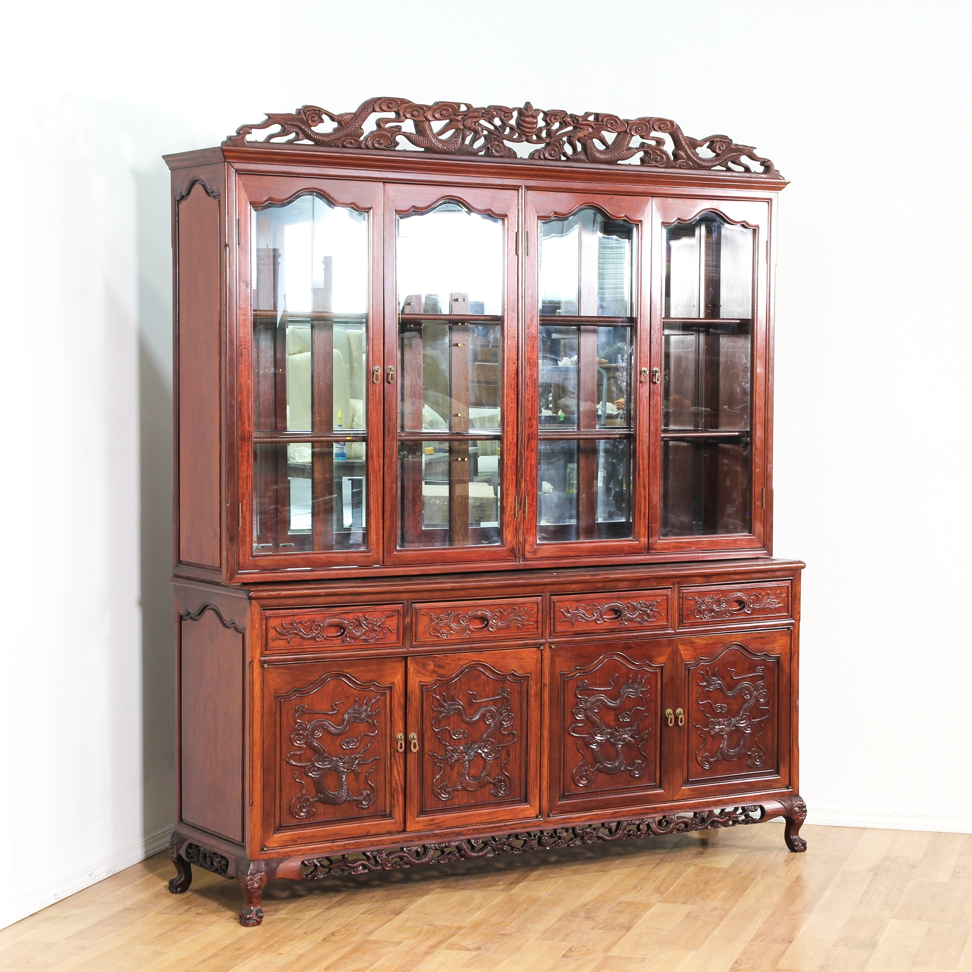 Antique Bed: Asian Rosewood Carved Large China Cabinet