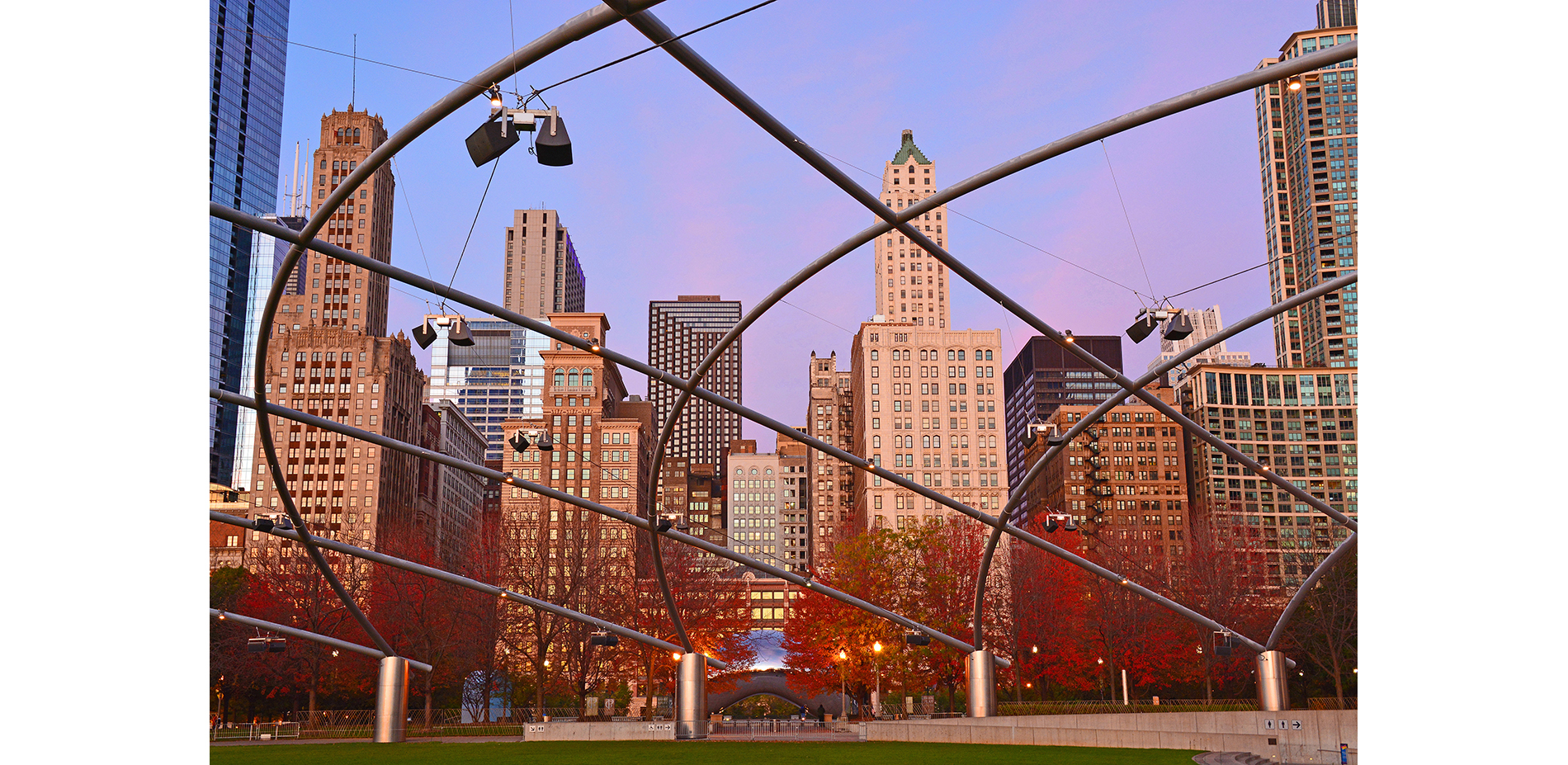 """Cloud Gate"" as viewed across the Jay Pritzker Pavilion Great Lawn"
