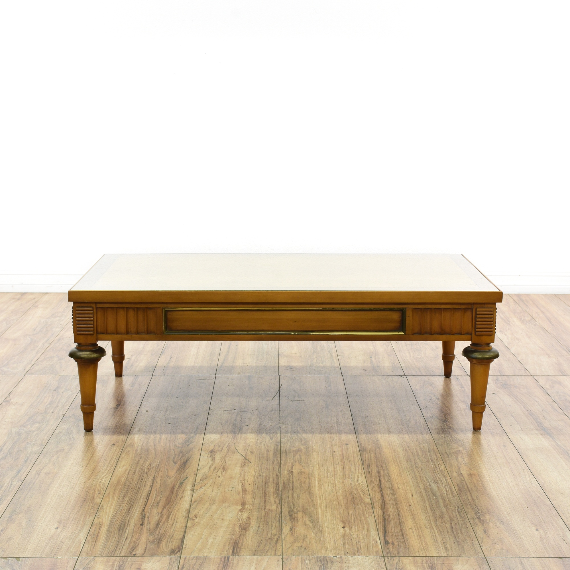 """Lane Long Coffee Table: """"Lane"""" Glass Parquet Top Fluted Coffee Table"""