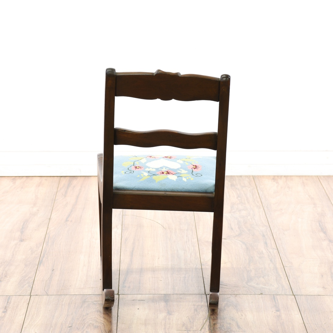 Child Sized Rocking Chair W Embroidered Seat Loveseat Vintage Furniture San Diego Los Angeles