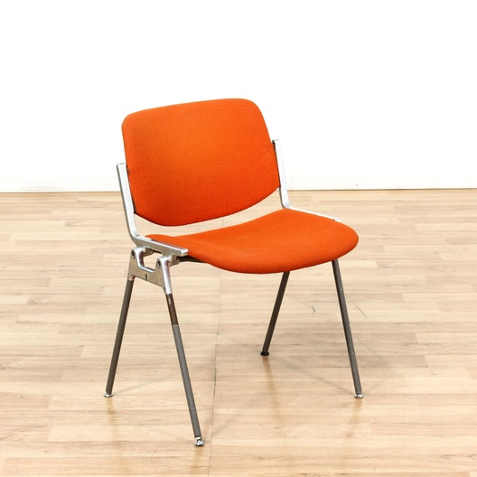 Italian Retro Orange & Chrome Modern Office Chair