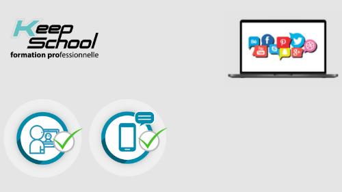 Représentation de la formation : Marketing digital et réseaux sociaux (TOSA Digcomp) : cours particuliers en visio (30h) + e-learning