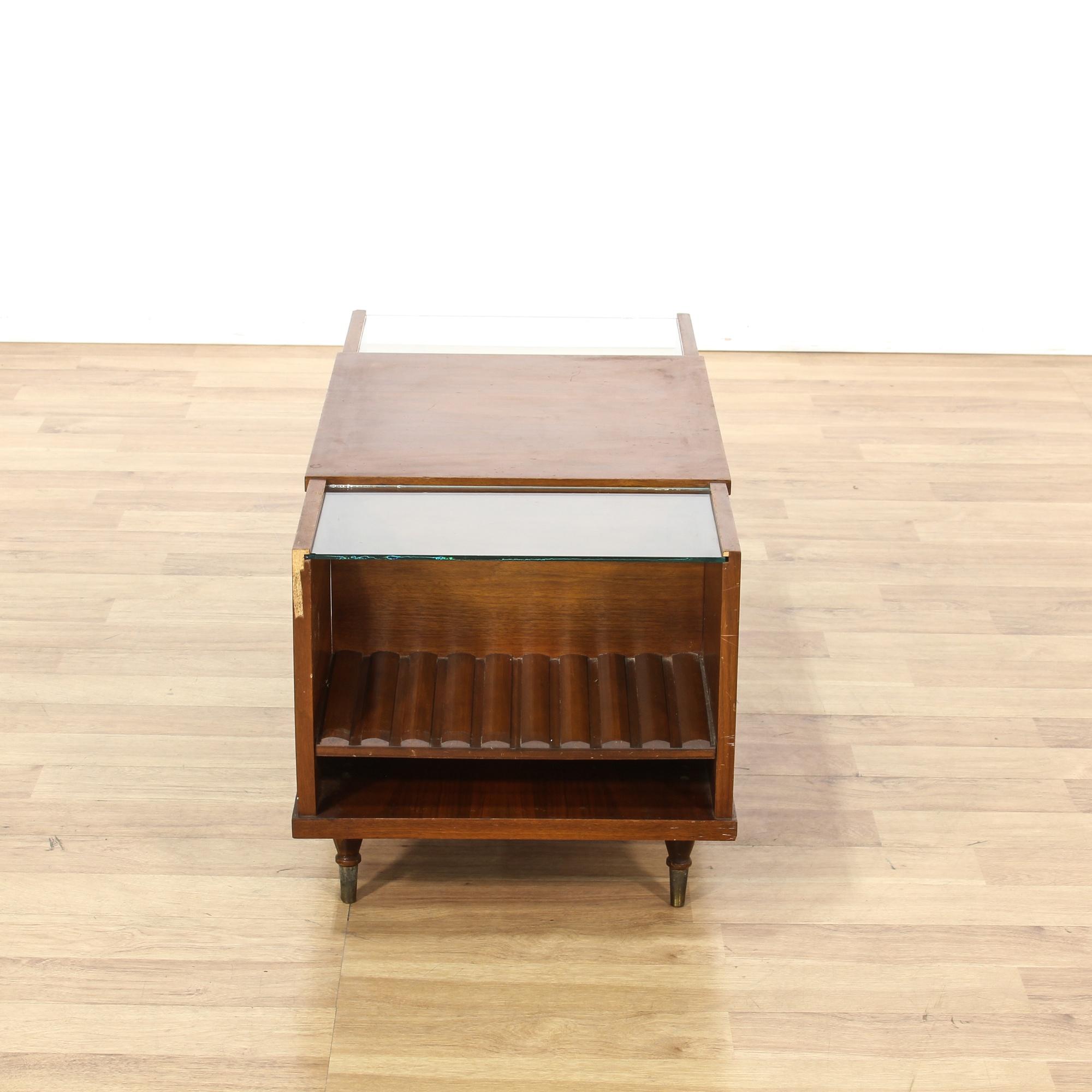 Mid century modern teak glass tier coffee table loveseat for Mid century modern la
