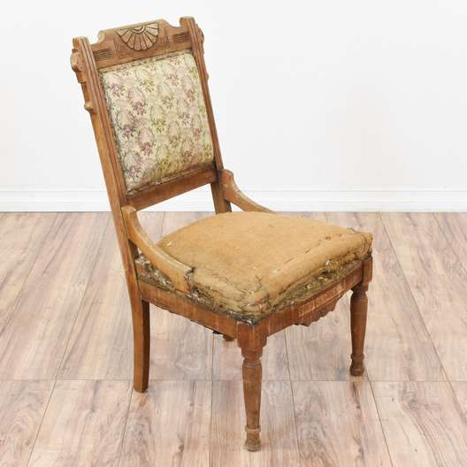 Deconstructed Eastlake Chair w/ Floral Needlepoint