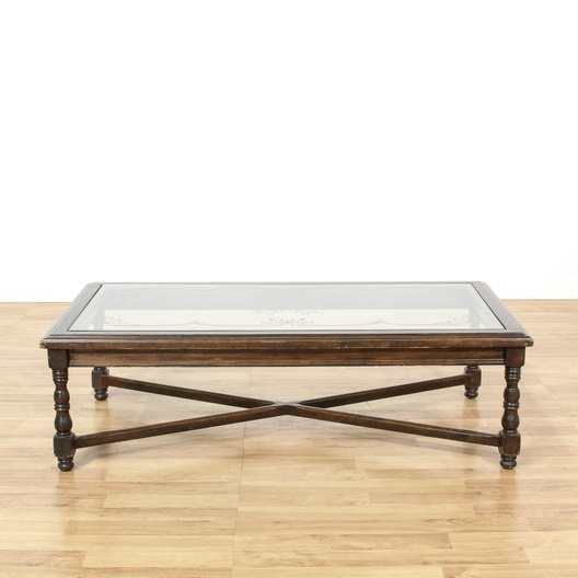 Large Distressed Wood Coffee Table: Large Walnut Glass Floral Etched Coffee Table