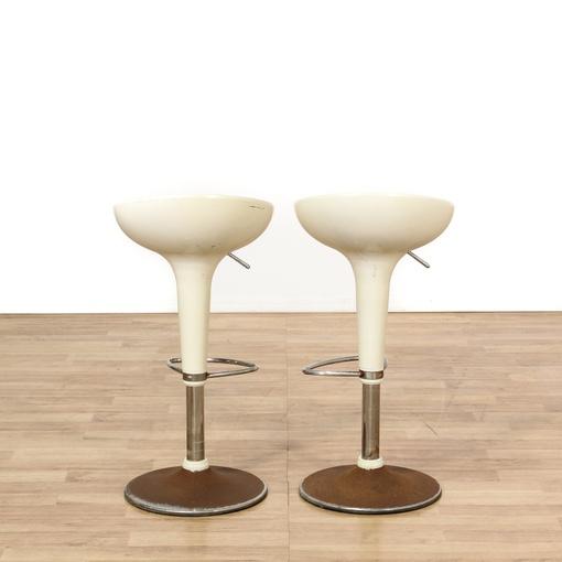 pair of mid century modern white egg barstools loveseat
