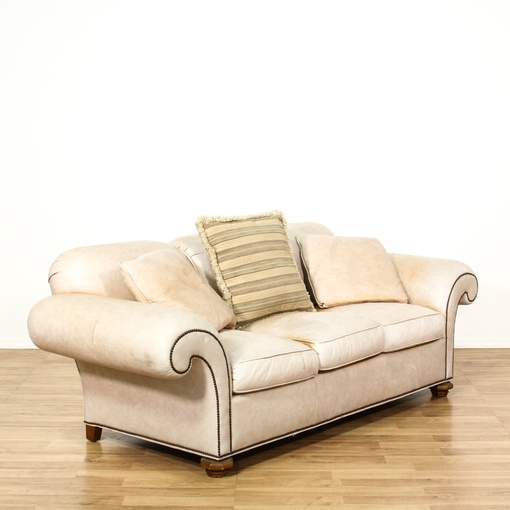"""Leather Sofas In Los Angeles: """"Baker"""" Cream Leather Upholstered Sofa"""