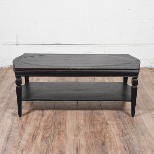 Shabby Chic Black Painted Coffee Table Loveseat Vintage