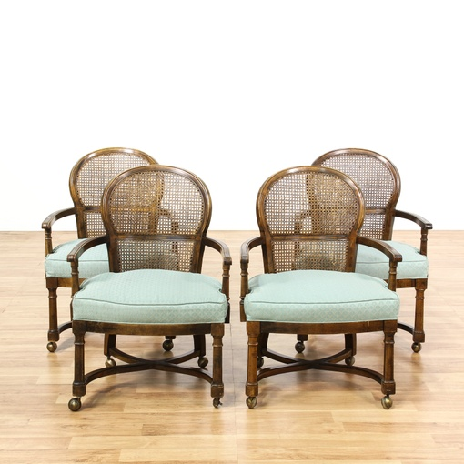 Dining Room Chairs San Diego: Set Of 4 Rolling Cane Back Dining Chairs
