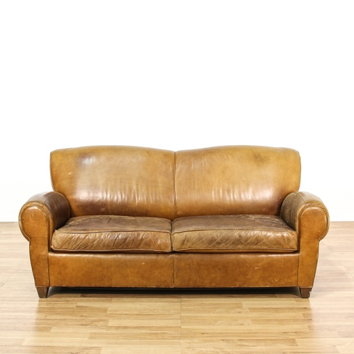 Leather Upholstered Sleeper Sofa Loveseat Vintage