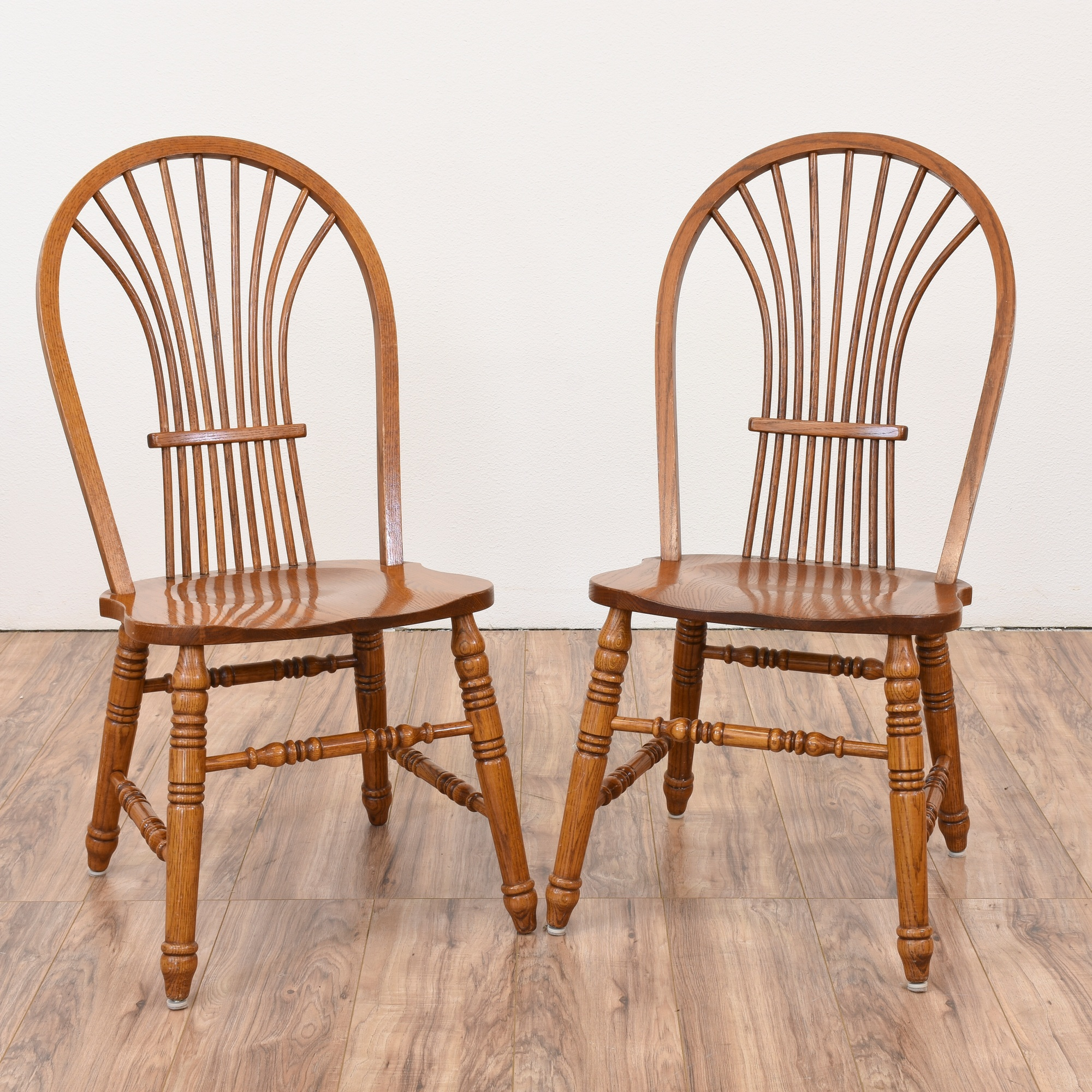 Solid Oak Windsor Chairs ~ Pair of solid oak windsor chairs loveseat vintage