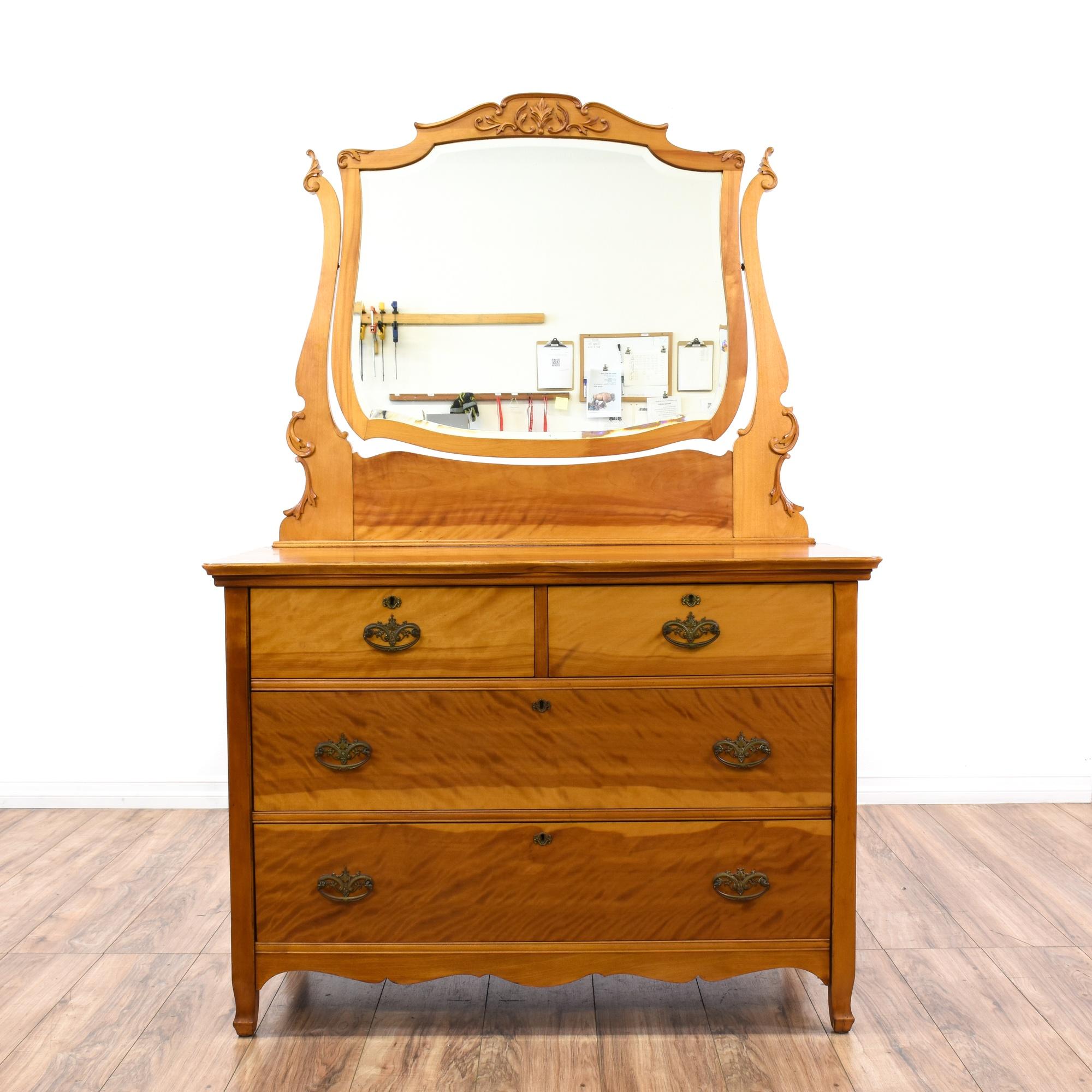 Antique Flame Birch Vanity Dresser Loveseat Vintage