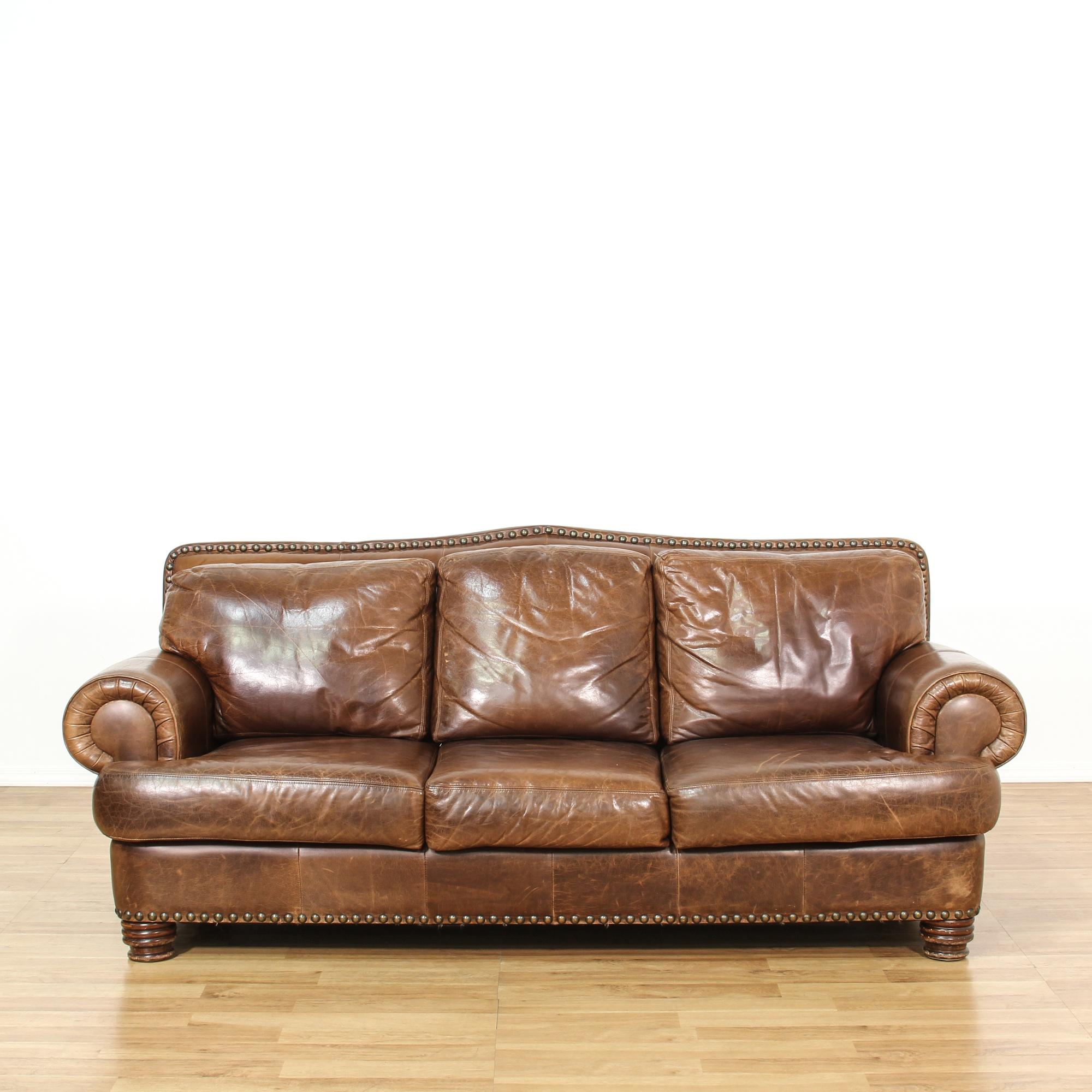 ralph style leather studded sofa loveseat vintage