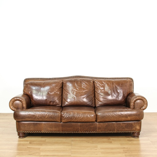 Ralph lauren style leather studded sofa loveseat vintage for Studded leather sofa