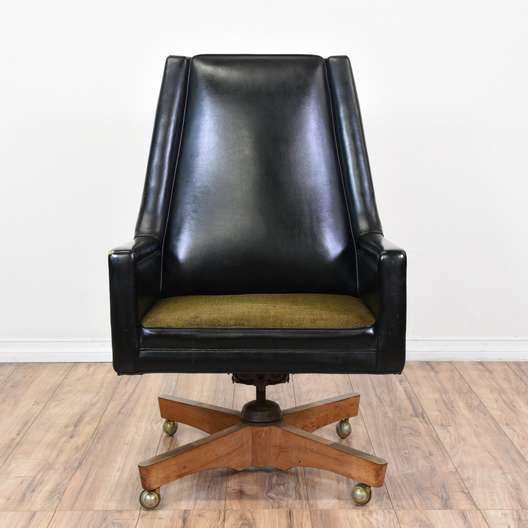 Mid Century Modern Black Leather Desk Chair