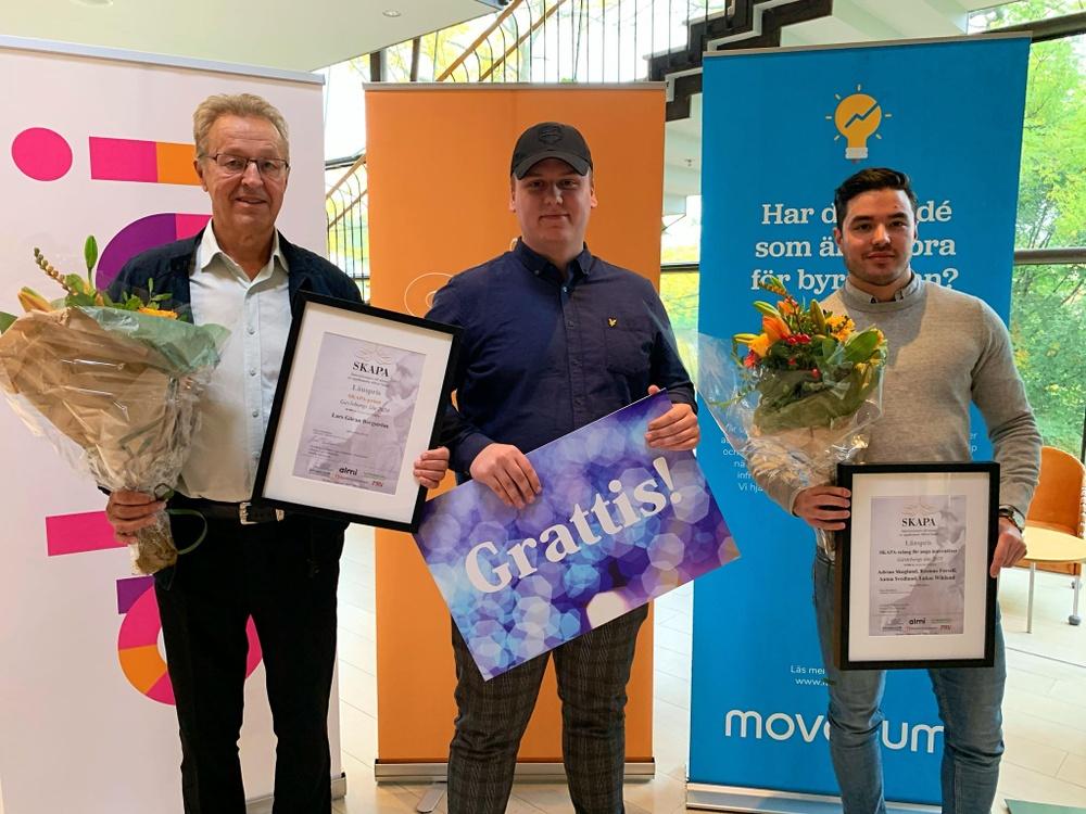 Vinnare av SKAPA-priset, Lars-Göran Bergström och vinnare av SKAPA-talang för unga innovatörer Adrian Skoglund och Rasmus Forsell