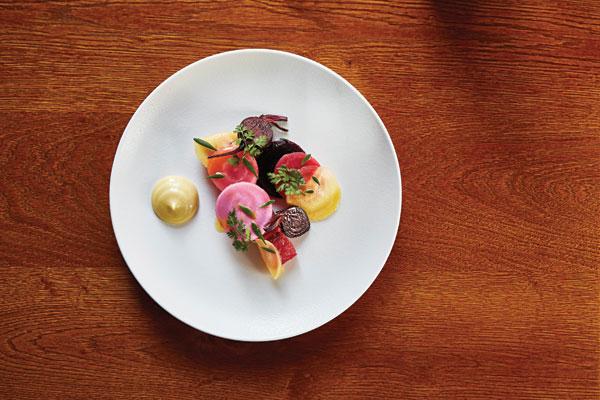 Heritage beetroot, cured organic salmon, smoked rosemary mayonnaise