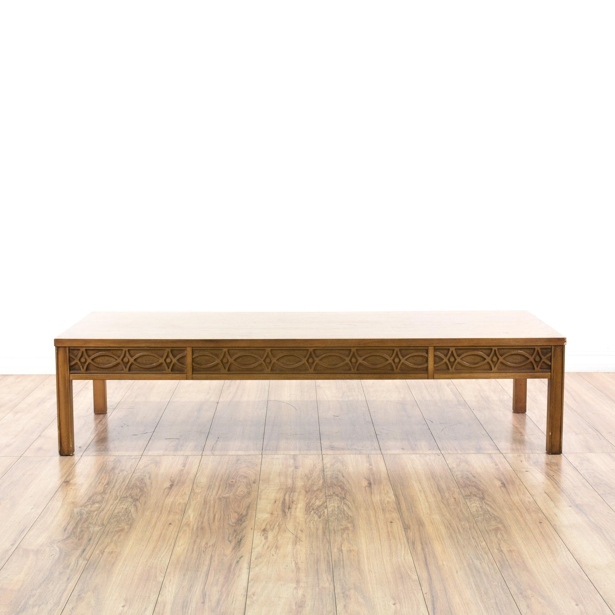"Lane Long Coffee Table: ""Lane"" Carved Mid Century Modern Coffee Table"