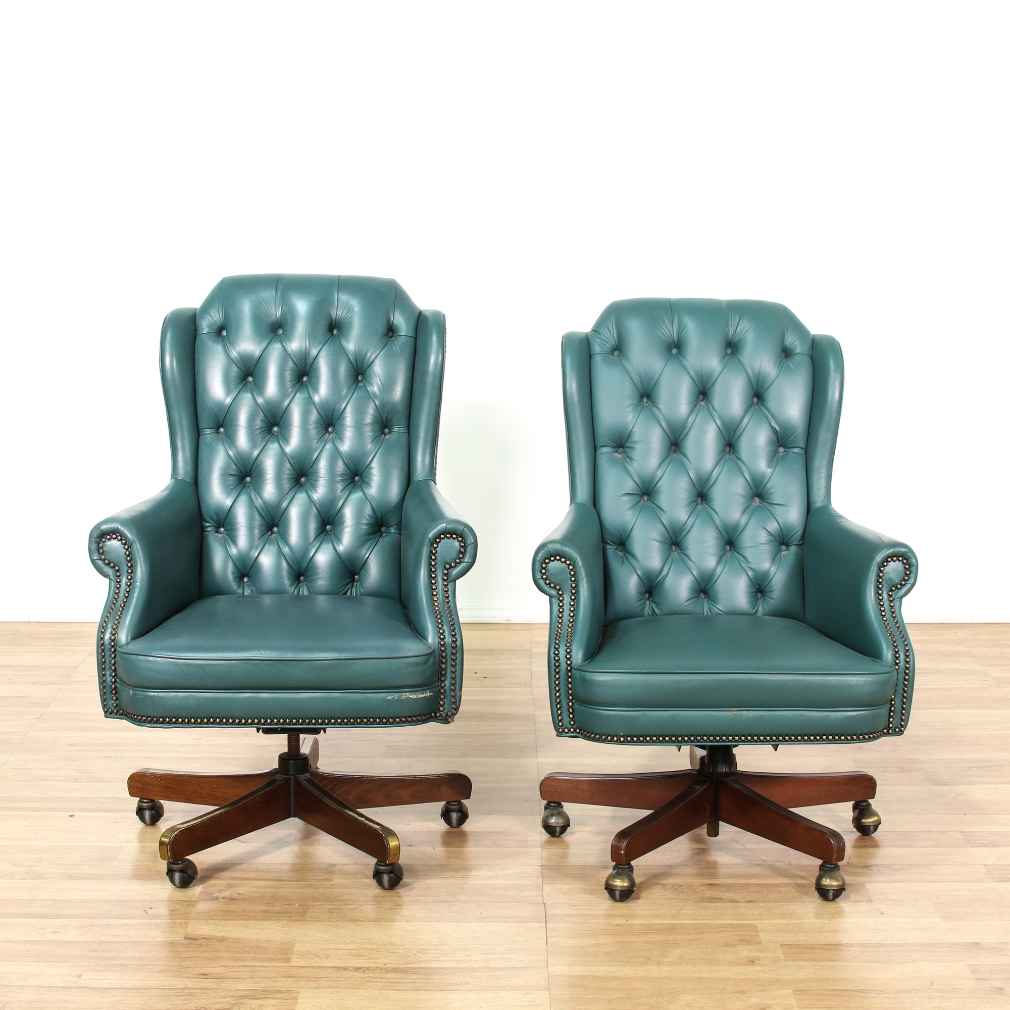 Pair of turquoise tufted back armchairs loveseat vintage for G furniture los angeles