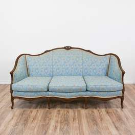 French Bergere Camelback Sofa in Blue Floral