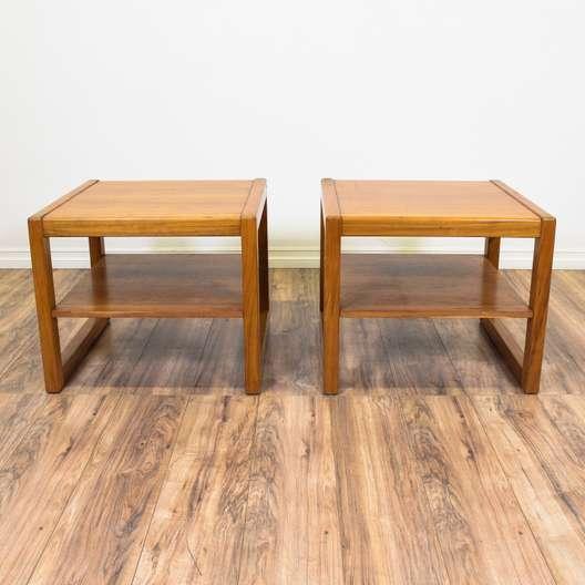 Pair of Mid Century Modern Sleigh Leg End Tables