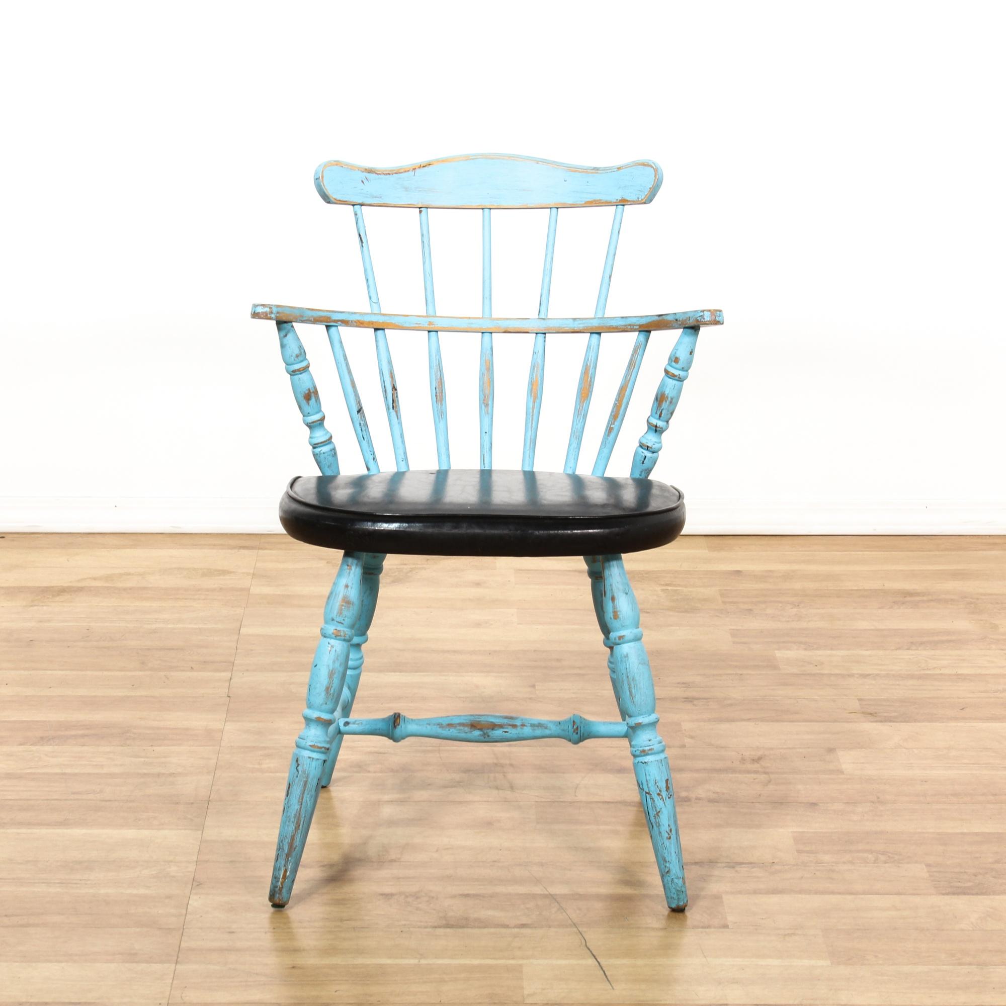 Light blue shabby chic black vinyl windsor chair loveseat vintage furniture san diego amp los