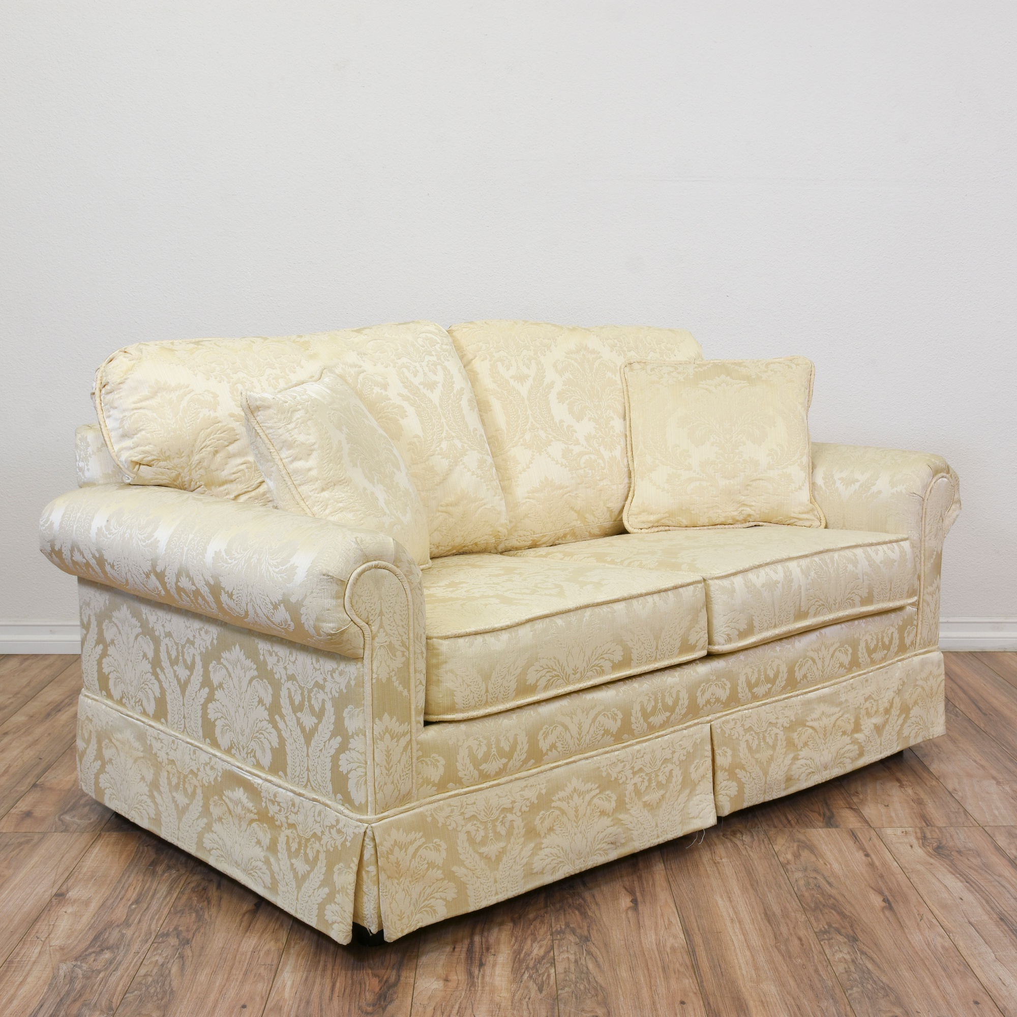 Krause 39 S Cream Floral Damask Loveseat Sofa Loveseat Vintage Furniture San Diego Los Angeles