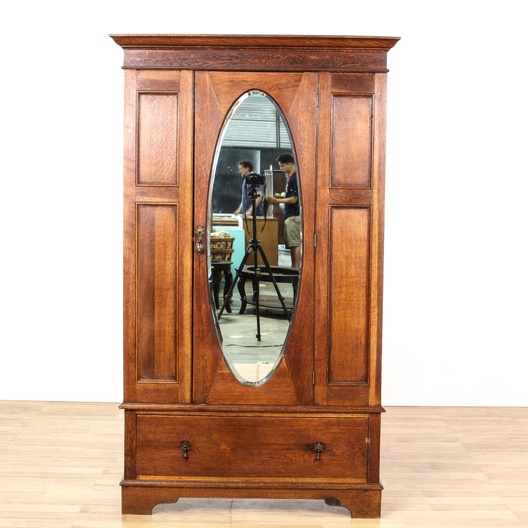Antique Oak Mirror Front Wardrobe Armoire Loveseat