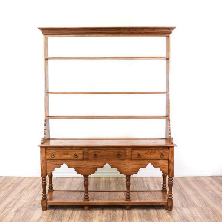 "Dark Wood Welsh Dresser: ""Drexel"" Solid Mahogany Sideboard Buffet"