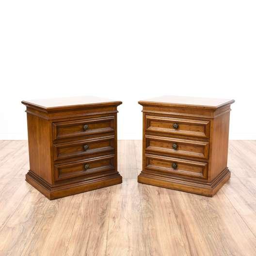 """Pair of """"Drexel Heritage"""" Walnut Nightstands"""