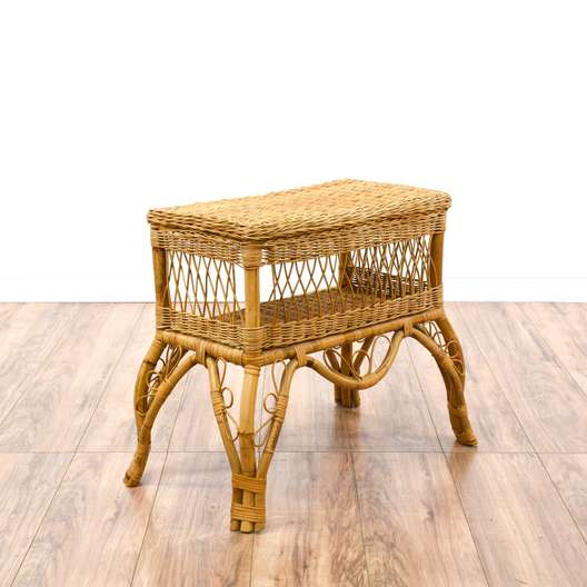 Bohemian Rattan End Table Stand