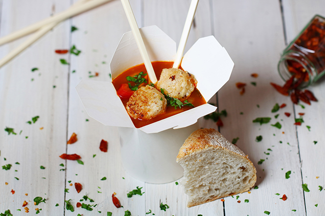 Asian meatless meatball hotpot with Lion sauce