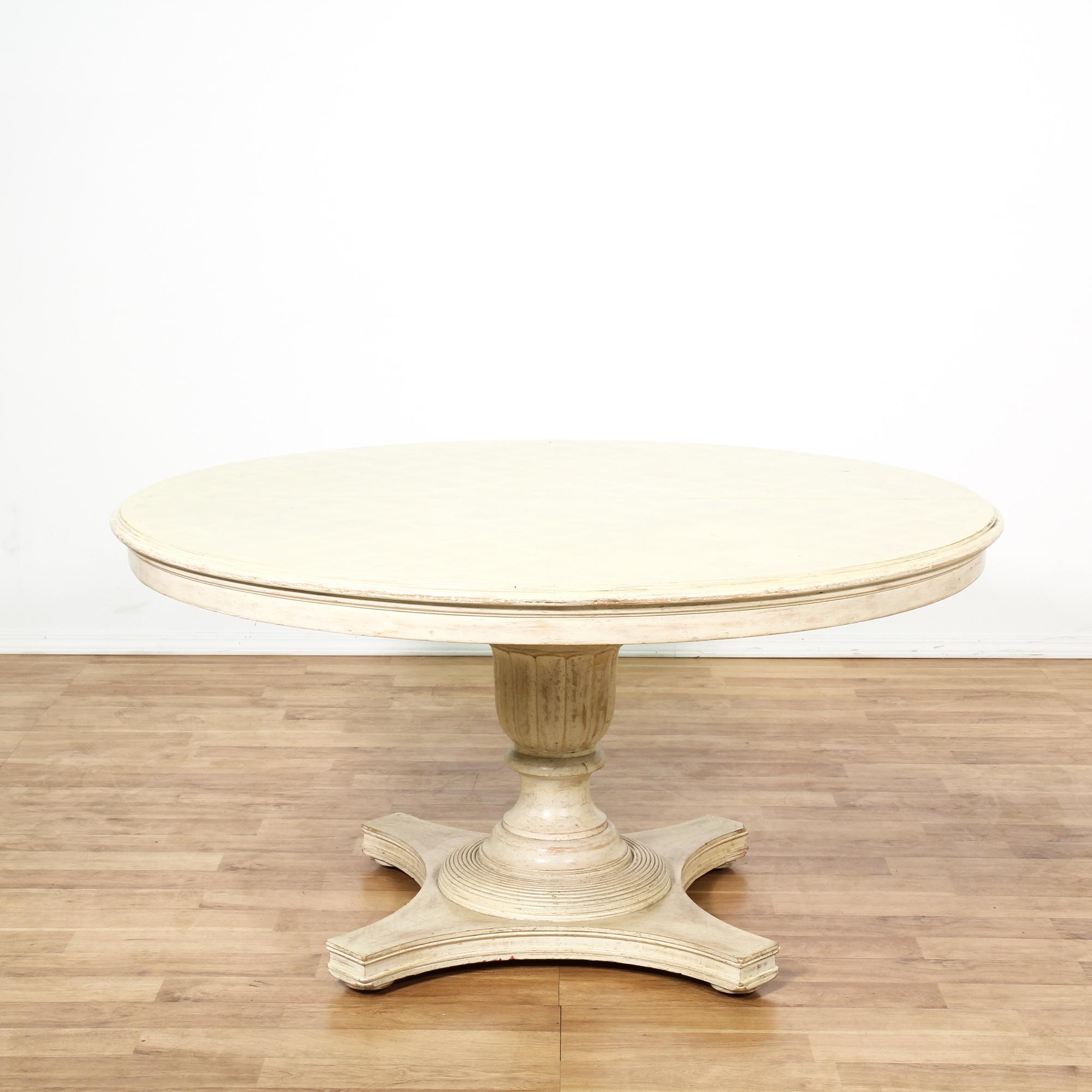 round white cottage chic pedestal dining table loveseat vintage furniture san diego los angeles. Black Bedroom Furniture Sets. Home Design Ideas