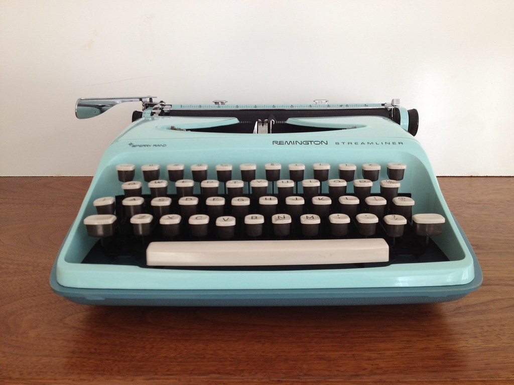 Image of a Remington Streamliner typewriter from the 1960's.