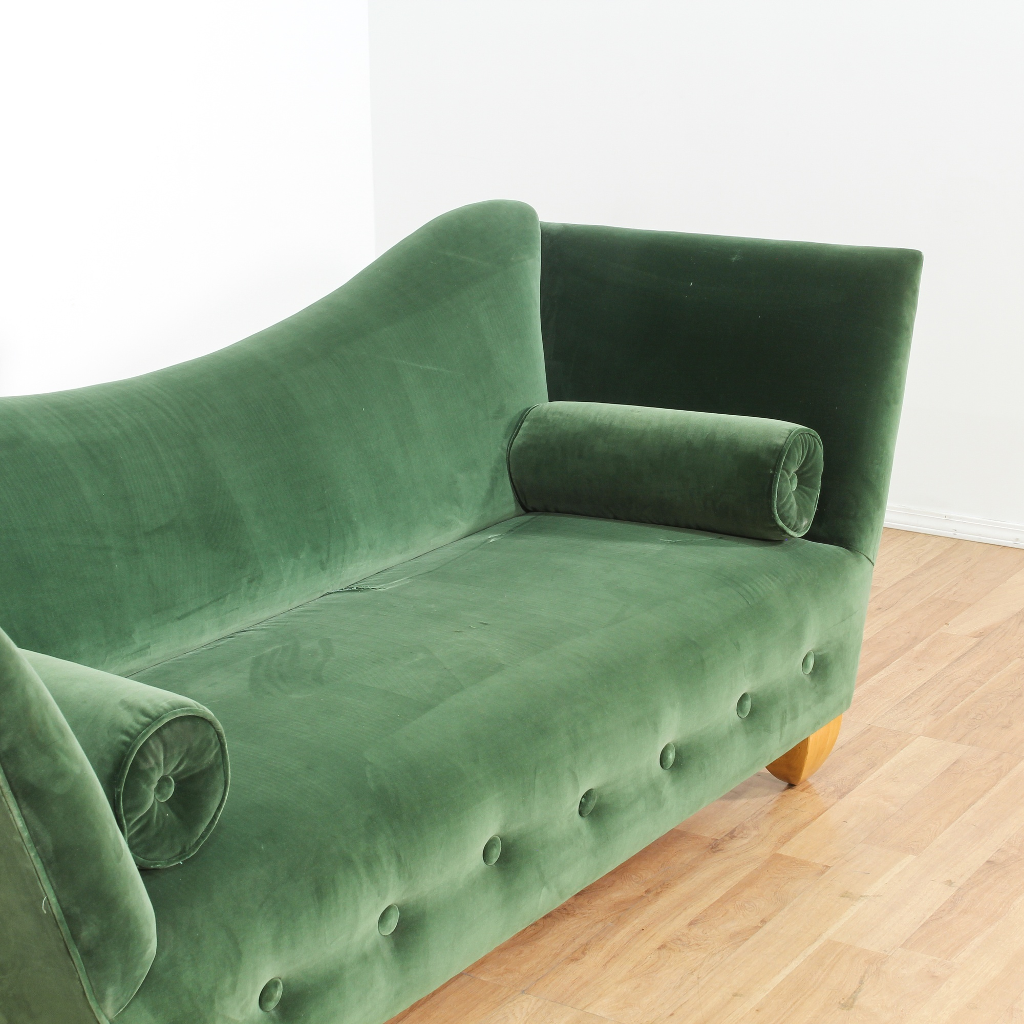 Moderne green plush upholstered sofa loveseat vintage for Plush couch and loveseat