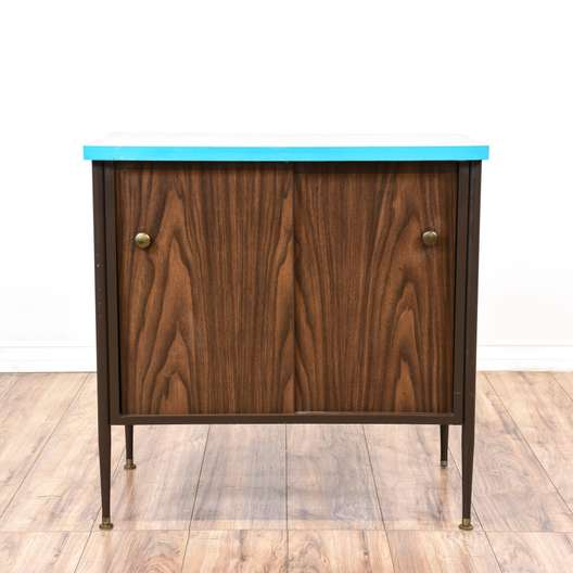 Mid Century Modern Teal and Walnut Credenza