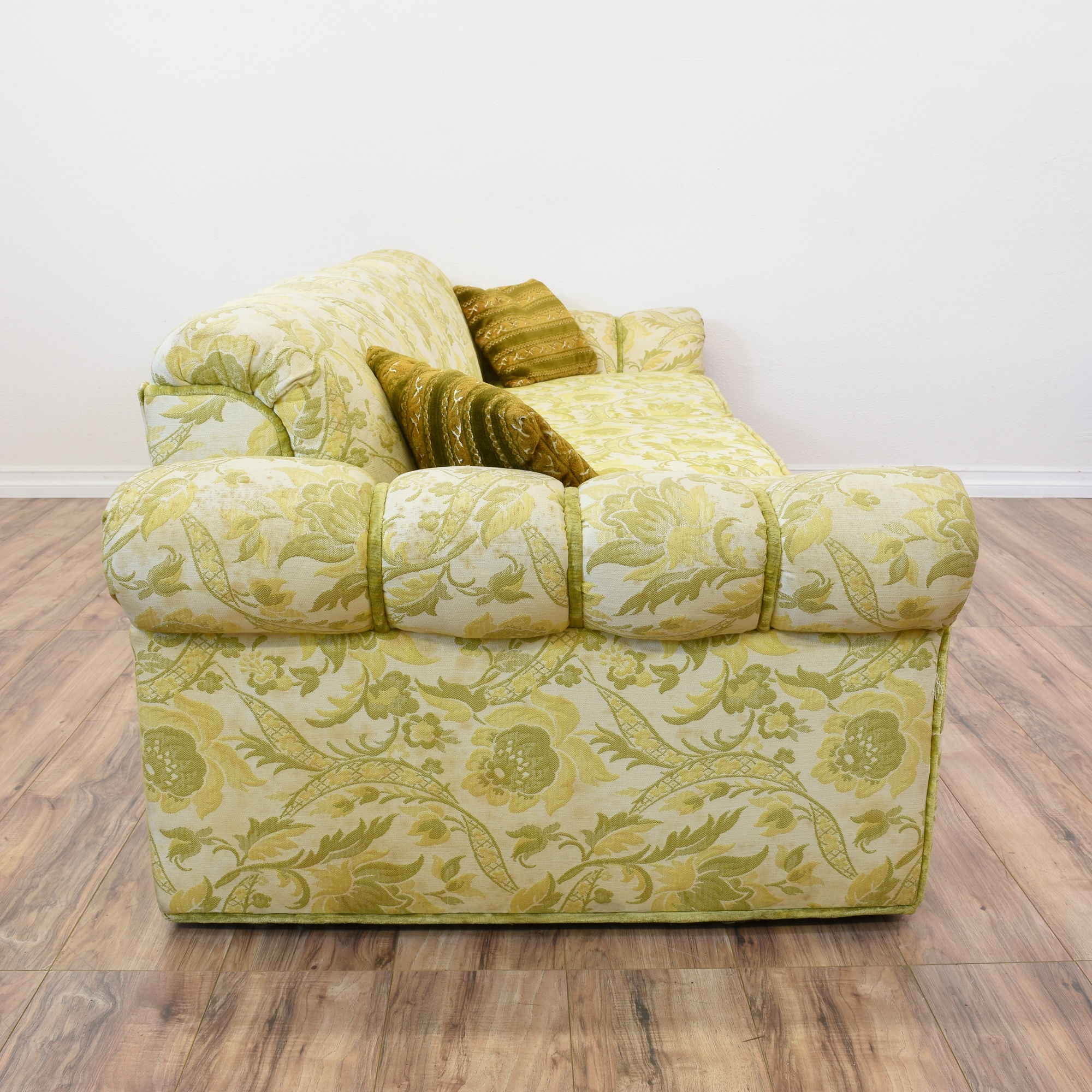 Long Beige Green Floral Paisley Print Sofa Loveseat Vintage Furniture San Diego Los Angeles