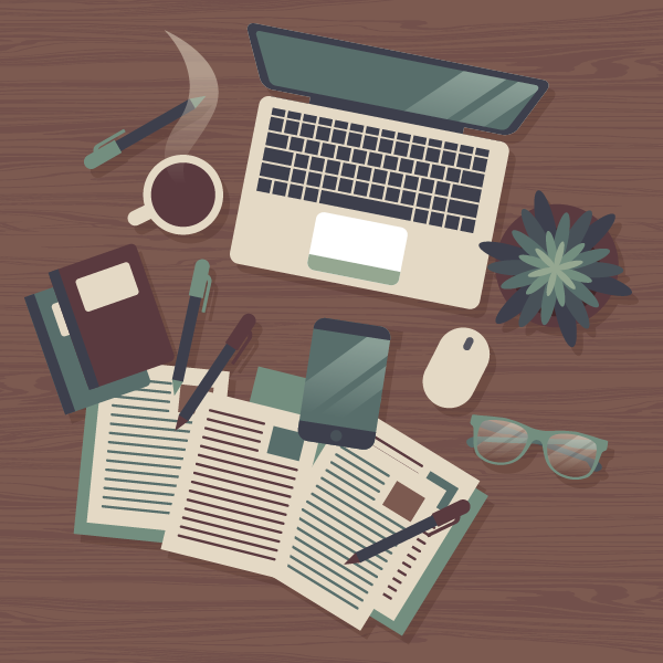 A graphic showing a flatlay of a desk