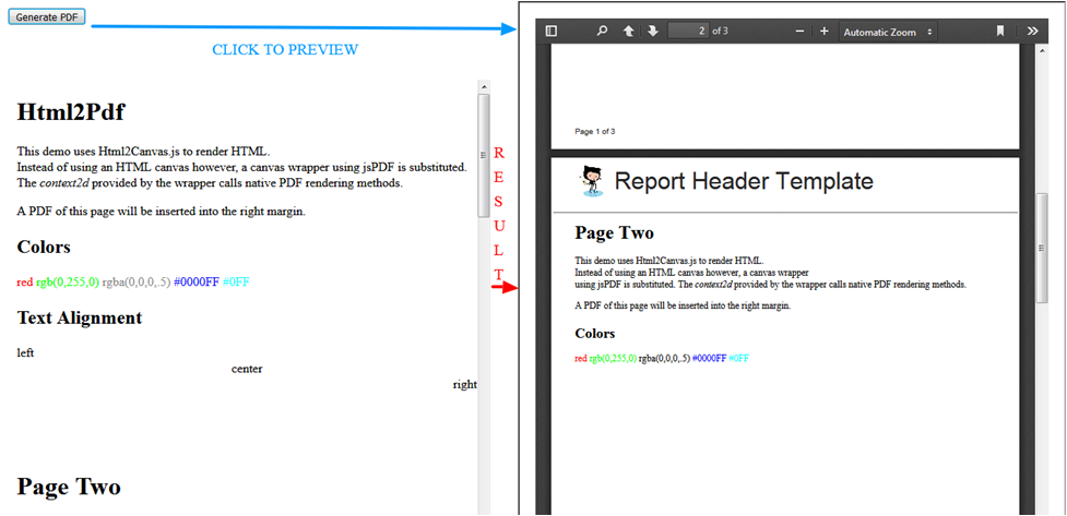 download html as pdf jspdf