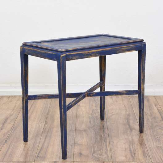 Blue Shabby Chic X-Stretcher End Table