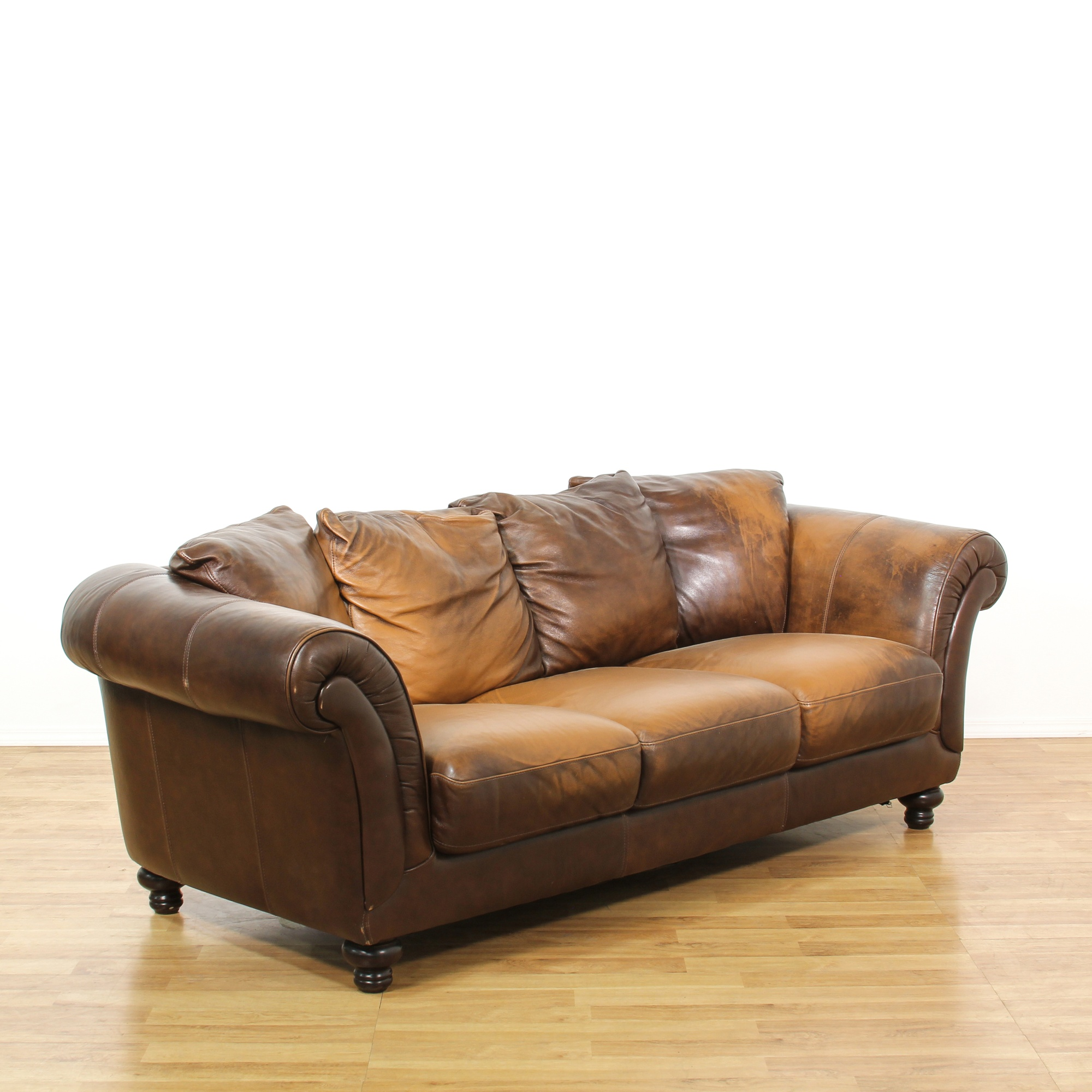Distressed Brown Leather Upholstered Sofa