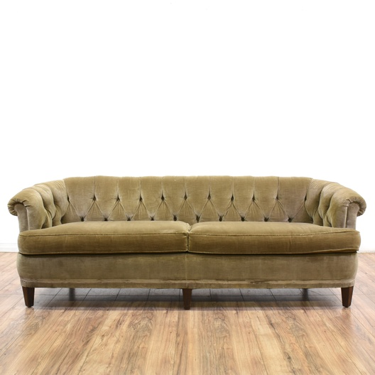 Quot Sherrill Quot Velvet Tufted Club Sofa Loveseat Vintage