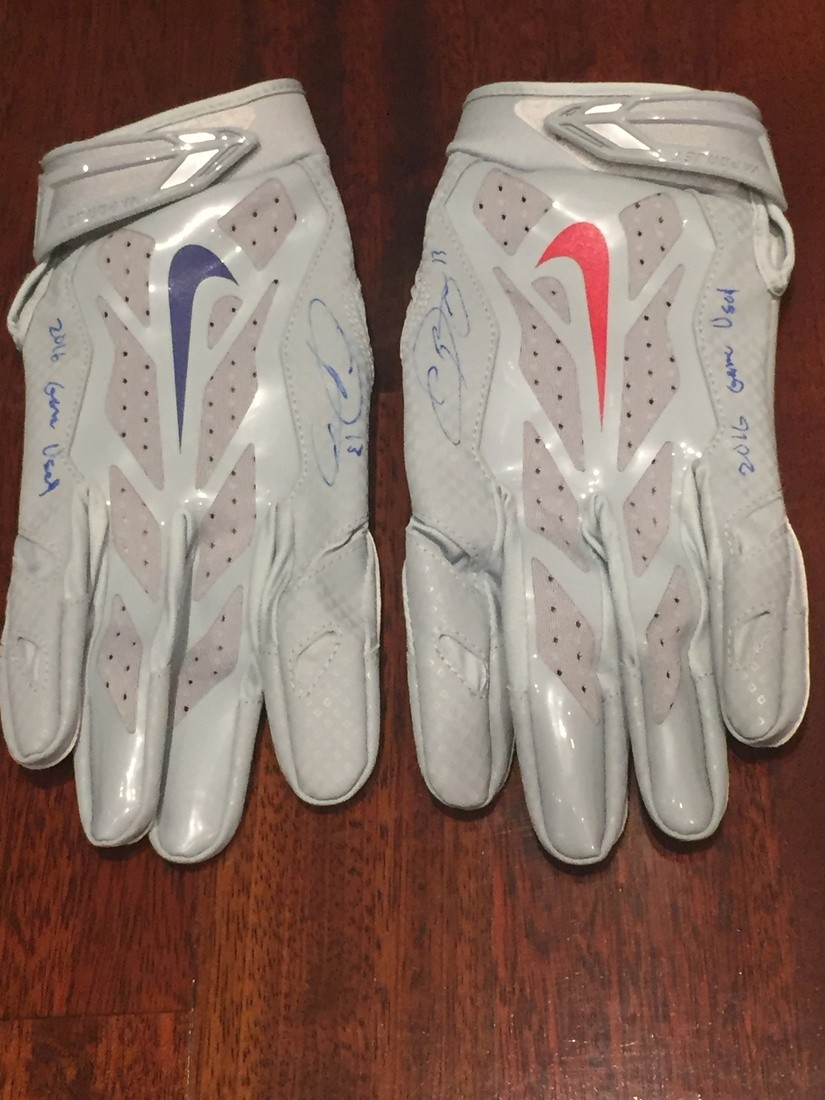 sale retailer f78d9 c34de Odell Beckham 2016 Pre Game Used Gray Gloves | Collectionzz
