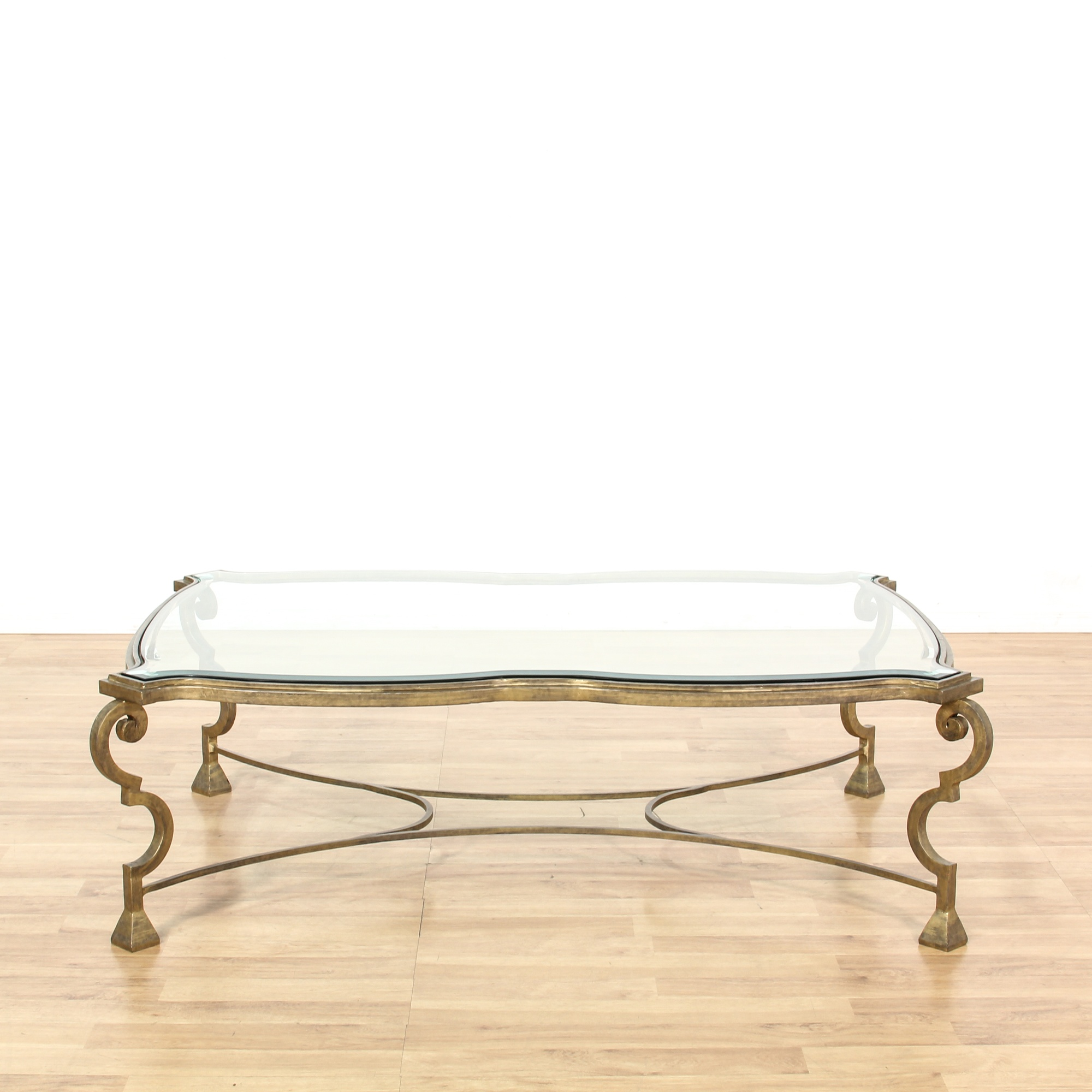 large brass curved glass top coffee table loveseat vintage furniture san diego los angeles. Black Bedroom Furniture Sets. Home Design Ideas