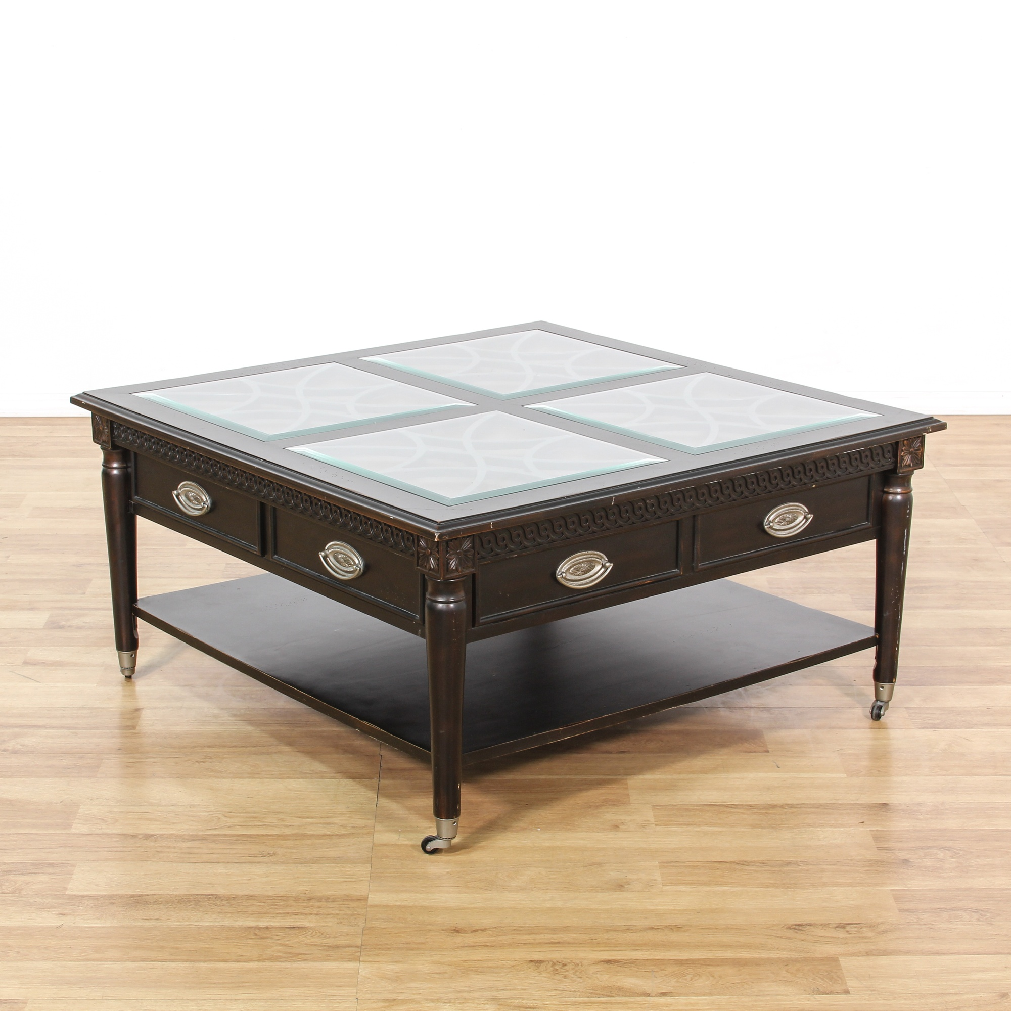 Aspenhome Black Stained Glass Top Coffee Table Loveseat Vintage Furniture San Diego Los
